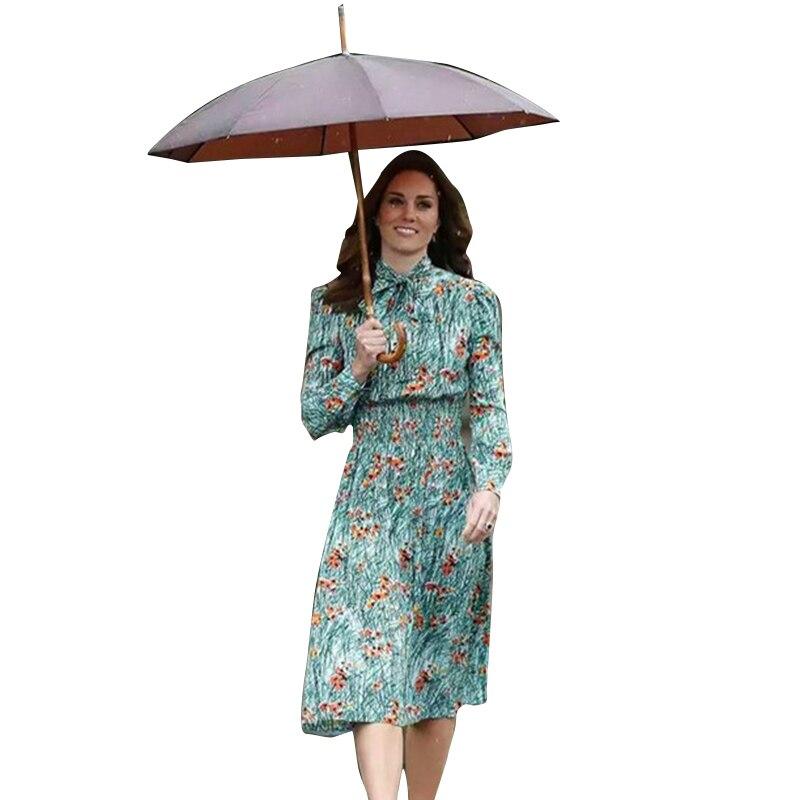Princesse Kate Middleton robe 2019 femme robe à manches longues arc imprimé taille mince robes élégantes travail porter NPD0173