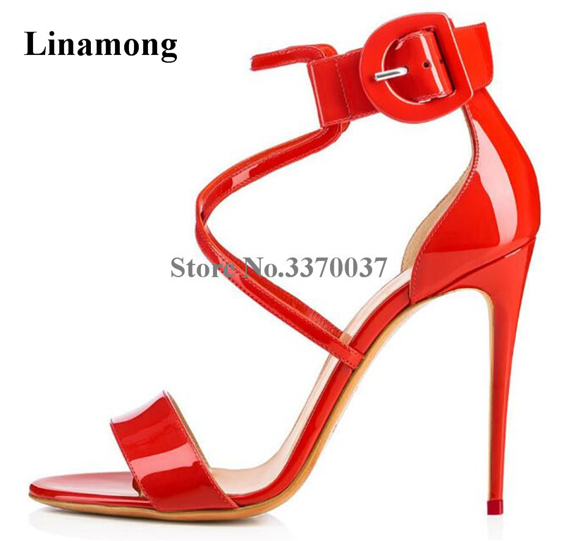 Newest Women Fashion Open Toe Red Patent Leather Strap Cross Stiletto Heel Sandals Ankle Strap High Heel Sandals Wedding Shoes sandalia feminina suede leather ankle strap ladies open toe pumps black high heel sandals women wedding shoes dorisfanny