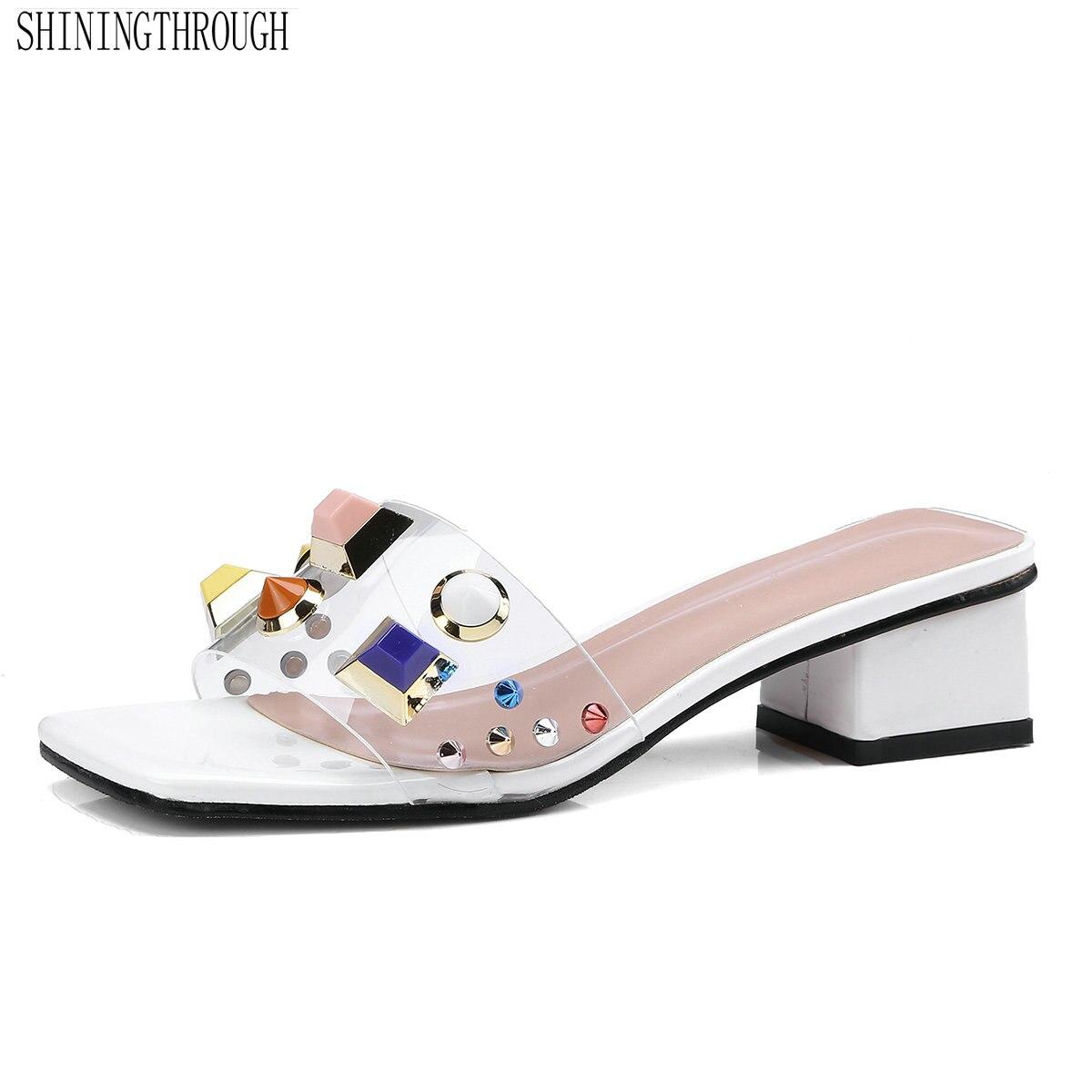 5182263630cc39 Rose Style Talons Cristal D'été Rivets Cm Hauts Sexy Schistes 4  Diapositives Étrange 2019 Chaussures Tendance blanc Femmes ...