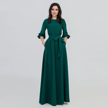 New 2019 Women's Dress Fashion Round Neck Long Sleeve Dress Middle Eastern Muslim National Solid color Big Swing Robe Dress