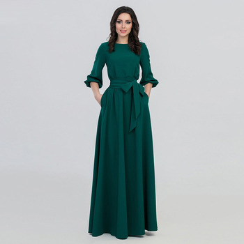 New 2019 Women's Dress Fashion Round Neck Long Sleeve Dress Middle Eastern Muslim National Solid color Big Swing Robe Dress black swing long sleeve dress