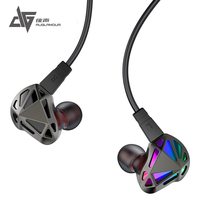 New AUGLAMOUR RT-1 In-Ear Earphone 1DD+1BA Hybrid HIFI Metal Earphone 2Pin Detachable Cable Earphone Subwoofer Sports Headset
