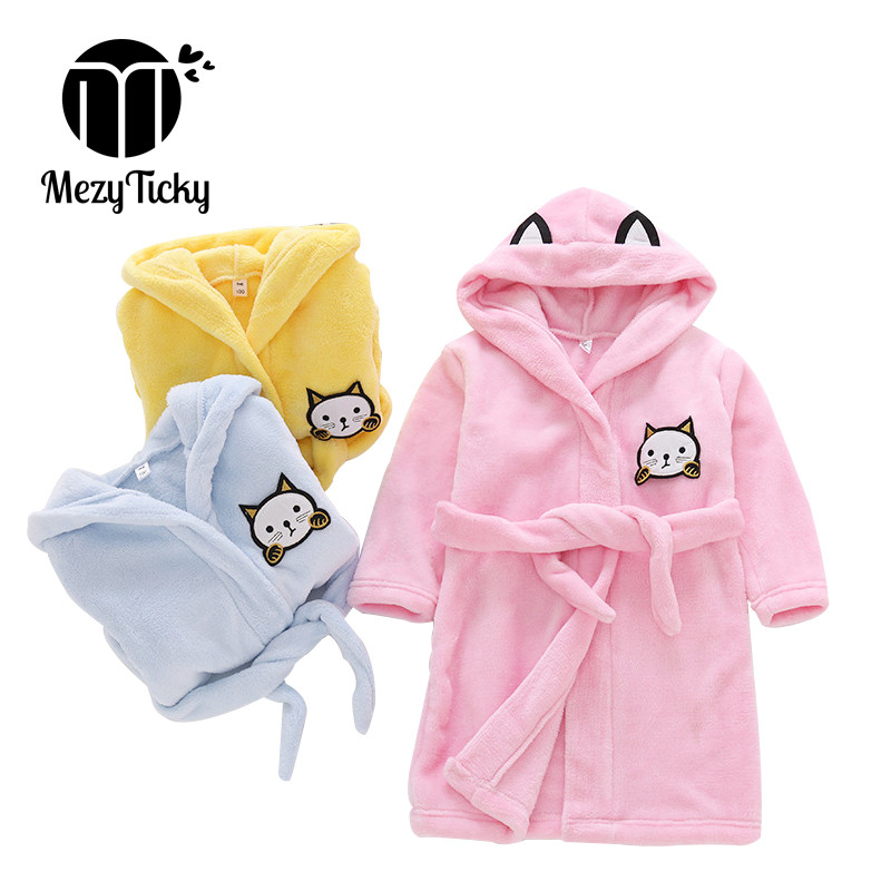 Autumn winter childrens hooded cat pajamas flannel cotton gowns Robes boys girls bathrobes Kids Soft Baby Sleepwear home Clothes