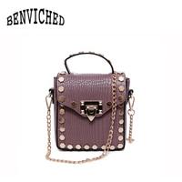 BENVICHED 2017 New Fashion Trend Style Rivet Design Small Handbags Retro Simple Alligator Pattern Women Messenger