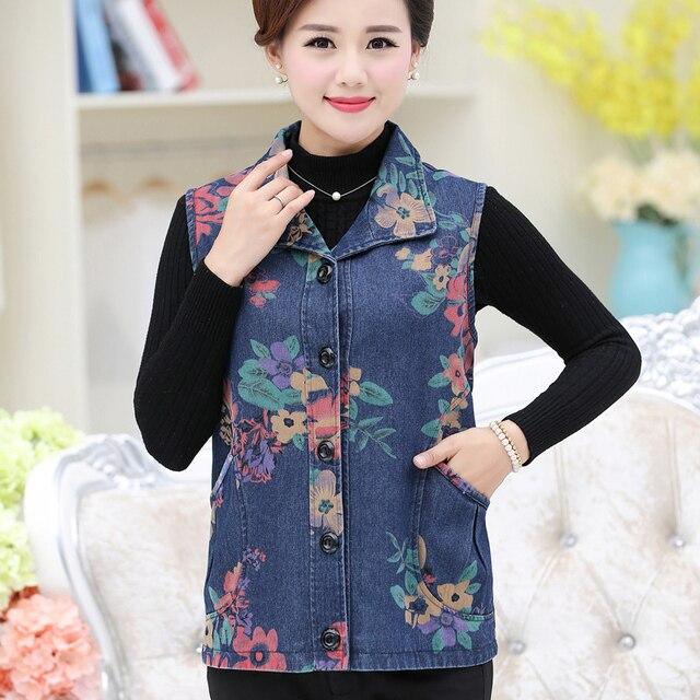 Quinquagenarian women's autumn and winter vest mother clothing plus size denim vest outerwear waistcoat clothes