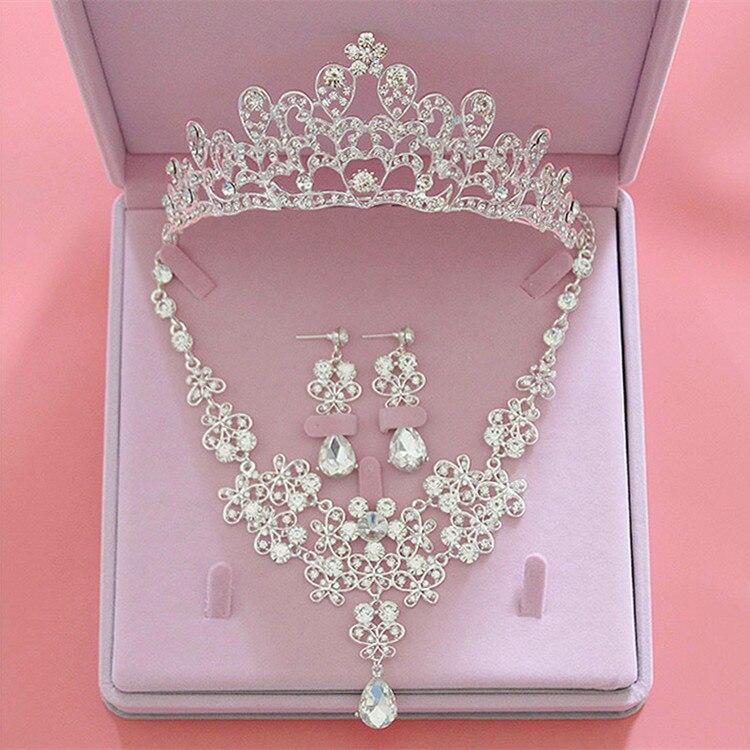 Funkelnden Strass Hochzeit & Verlobung Schmuck Sets Silber Kristall Tiara Crown Ohrring Halskette Braut Schmuck Sets Für Frauen Brautschmuck Sets
