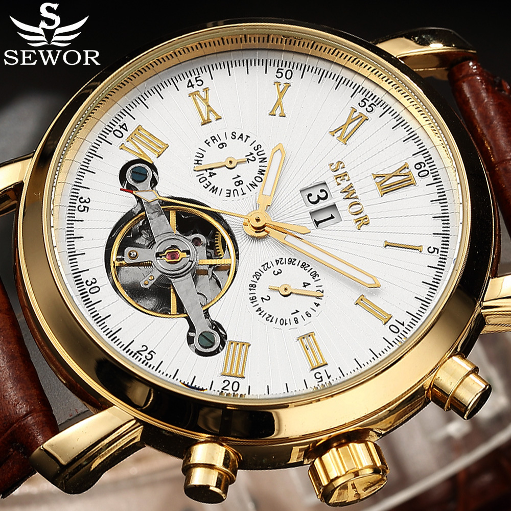 Automatic Watch Men SEWOR Fashion Auto Date  Male Leather Strap Top Brand Men Relogio Masculino Skelton Mechanical Watch fashion sewor men luxury brand auto date leather casual watch automatic mechanical wristwatch gift box relogio releges 2016 new
