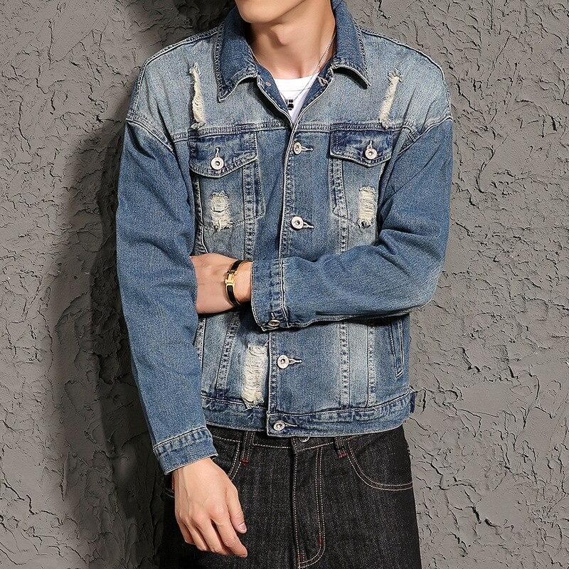 on sale 8f736 60b1e US $32.66 30% di SCONTO|Stile del giappone Degli Uomini di Giacca di Jeans  Vintage Giacca Invernale Uomini Sfilacciato Mens Giubbotti e Cappotti ...