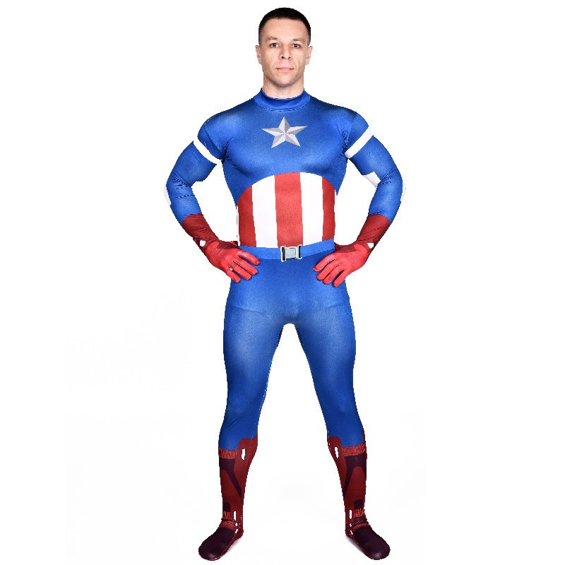 High Quality Mens Spandex Avenger Captain America Cosplay Costumes Adults Lycra Zentai Halloween Male Superhero Costume Bodysuit