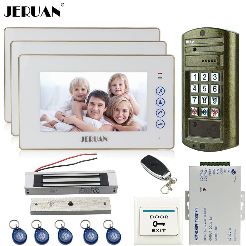 Home 7`` Video Doorbell Door Phone Intercom System Kit 3 Touch Key Monitor + Metal Waterproof Access Password HD Mini Camera