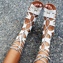 Retro Rome Bohemia Sandals Summer Knee High Leather Sandals Cross-tied Woman Back Lace-up Tassel Sandalen Frauen Fringed Flats
