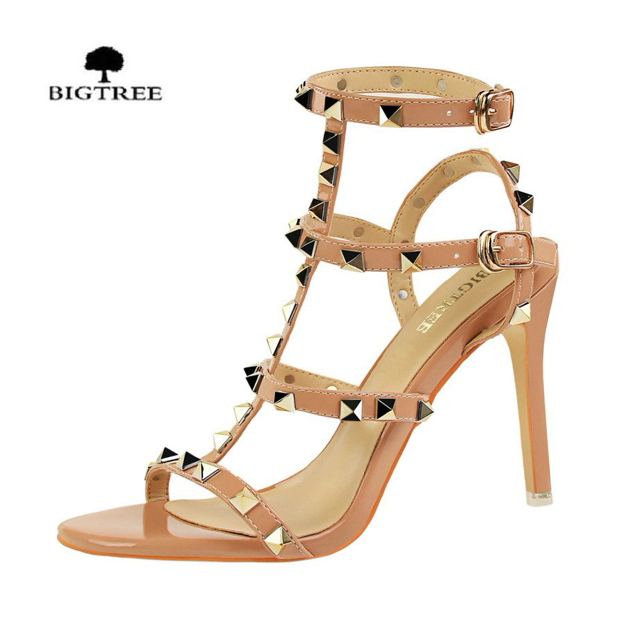 Generous Mljuese 2018 Women Sandals Cow Leather Air Mesh Breathable Gladiator Pointed Toe Square Heel High Heels Party Shoes Dress Heels High Heels