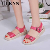 ULKNN Summer Shoes Comfortable Sandals Slip Resistant Genuine Leather Women Sandals Cowhide Casual Shoes Flat Sandals