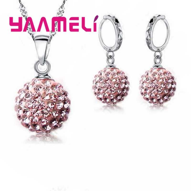 Classic CZ Crystal Disco Ball Earrings Necklace 925 Sterling Silver Jewelry Sets Wedding Party Women Valentine Gift
