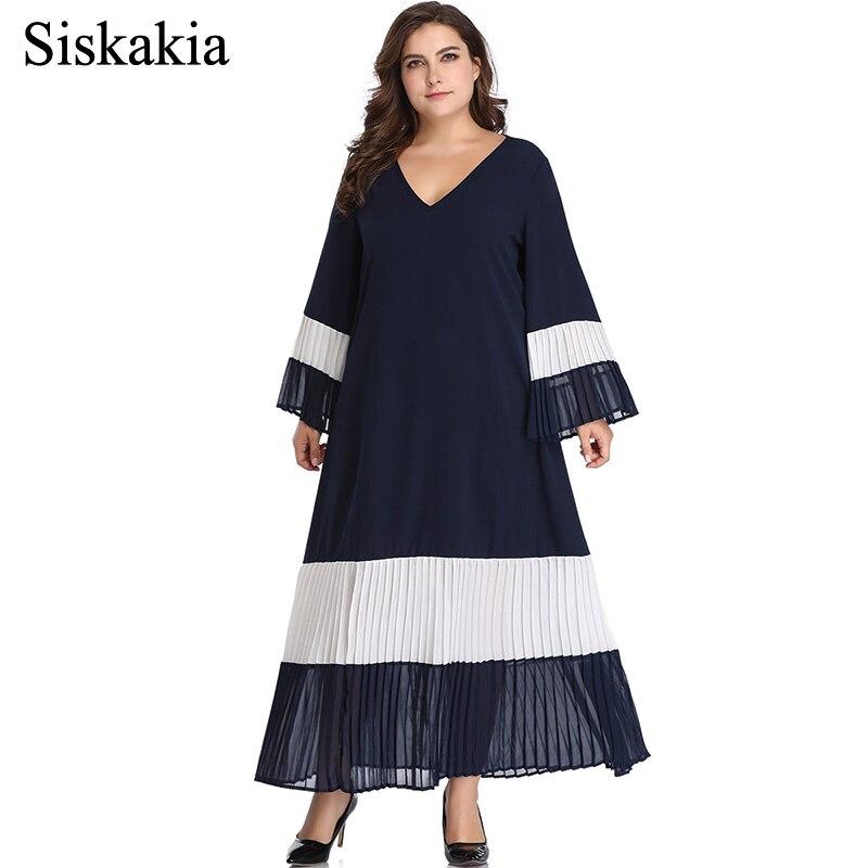 3ac4cc5a5 Siskakia 2019 primavera Patchwork plisado Swing vestido largo cuello en V  manga acampanada talla grande Maxi vestidos Marina elegante mujer fiesta ...