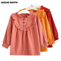 2017 Spring Autumn Clothing Children Linen Girls Shirt Kids Long Sleeve Shirts Tops Tee Ruffled Breathable
