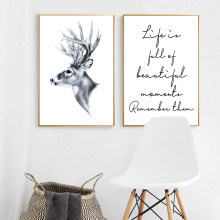 Canvas Painting Prints Home Decoration Wall Art Quotes Deer Modular Animal Cuadros Pictures English Letters Poster Kids Room
