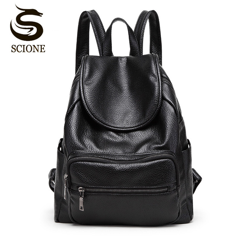 Scione Korean Fashion Anti Theft Women Backpack High Quality PU Leather Feminine Backpacks Black School Bags For Teenager Girls