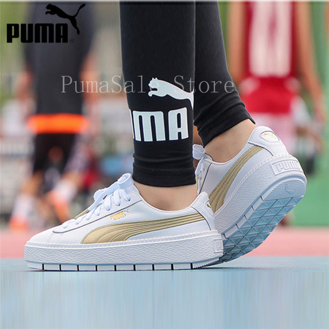 e07f32dba76bc4 PUMA Women s Platform Trace Sneaker Rihanna 4 Generation Thick Bottom White  Gold Shoes 367728-02 Sports Badminton Shoes 35.5-39