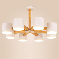 Modern Led Chandelier Wooden Lights With Iron Lampshade Nordic Hanging Lamp For Living Room Lighting Fixtures Lamparas White