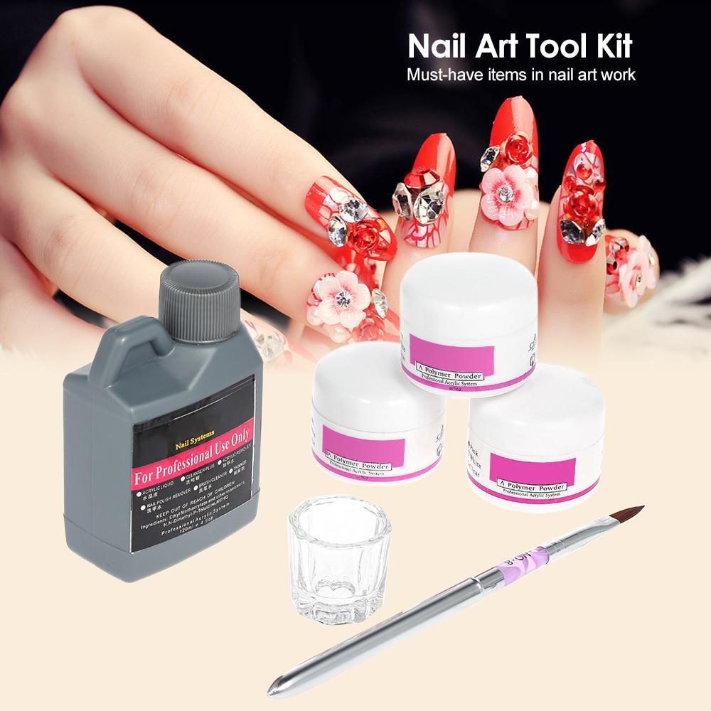 Nail Art DIY Tools Kit Professional Nail Acrylic Liquid 3pcs Nails ...