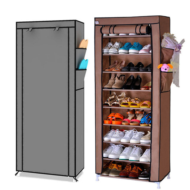 9 Drawer Shoes Shelves Large Shoe Rack Stool Storage Wardrobe Rack Shoe Organizer Zipper Sapateira Folding Cabinet