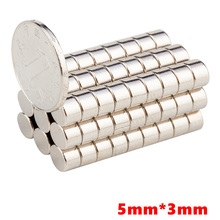 50Pcs/Set 5x3 mm 5 x 3 N50 Super Strong Rare Earth Magnet Small Round Powerful Neodymium Magnet Fridge