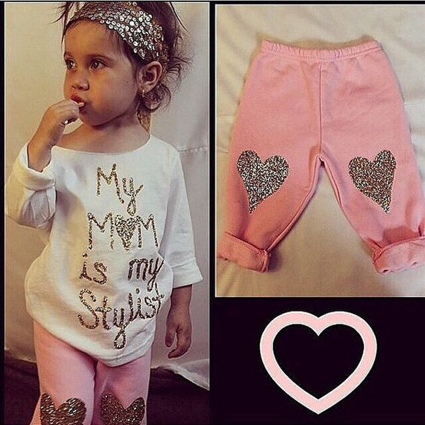 2016 New Toddler Kids Baby Girls Clothes Toddler Kids T-shirt Tops + Long Pants Trousers 2pcs Outfit Clothing Set kids baby girls outfit clothes t shirt dot tops bloomers pants trousers 2pcs set x16