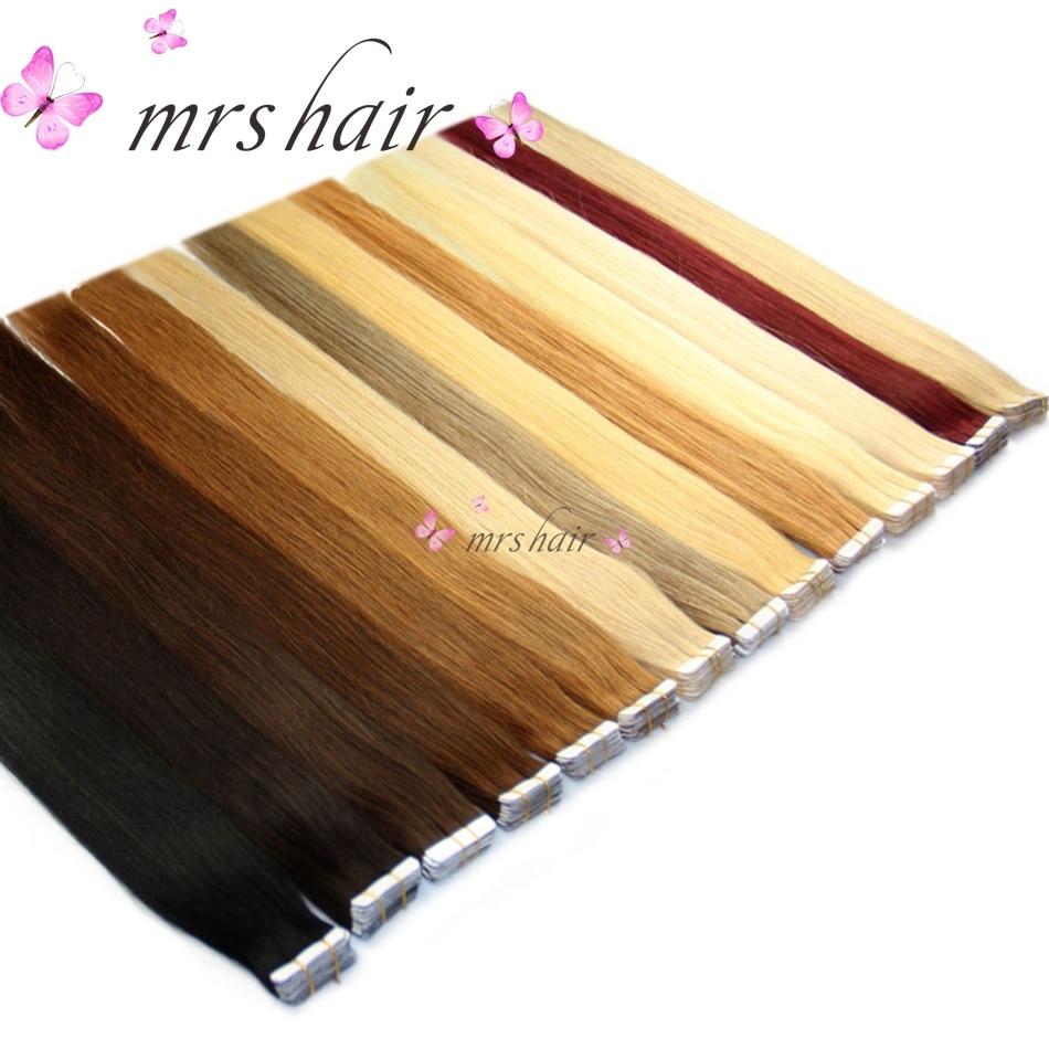 MRSHAIR 6 # Skin Weft Mänskligt Hår Straight Brazilian Tape In - Mänskligt hår (vit)