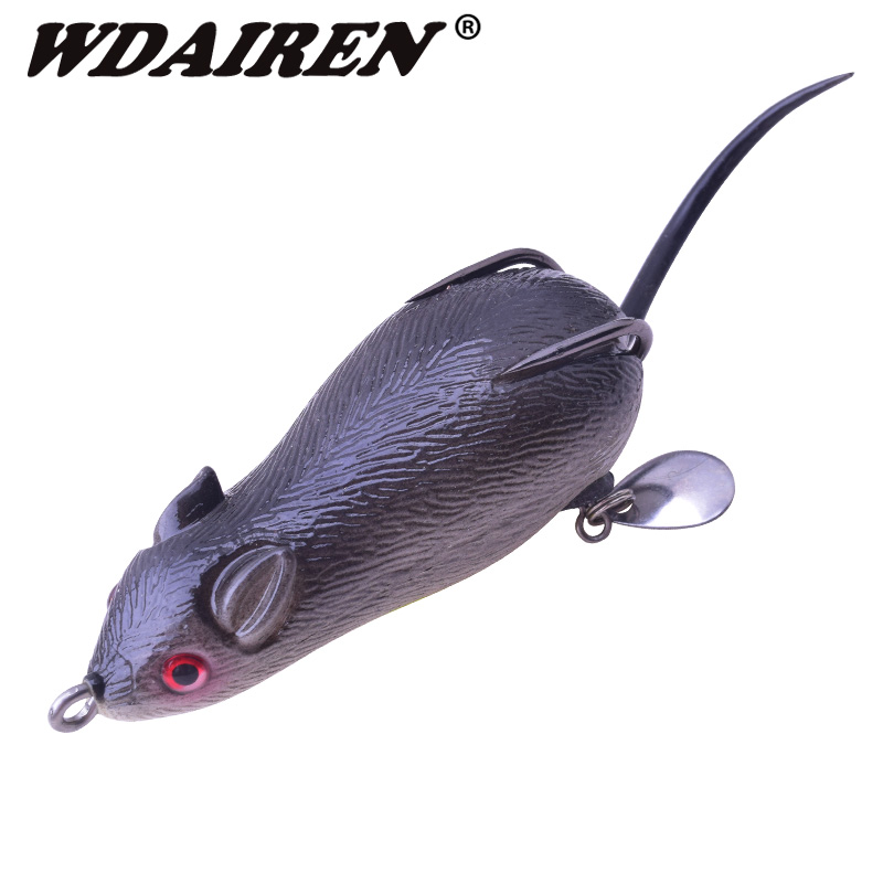 1Pcs Silicone Mouse Fishing Lure Artificial Bait 17g 70mm Topwater Lure Soft Baits Fishing Wobblers Bass Frog Pesca Pike WD-454