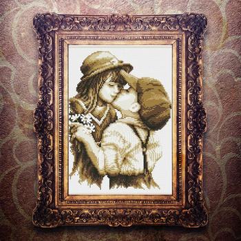 30X39CM zestawy do haftu zestawy do haftu krzyżykowego pierwszy romantyczny pocałunek haft krzyżykowy tanie i dobre opinie Obrazy Mesh Fabric cartoon Duszpasterska Dwustronnie haft Zwinięte PAPER BAG