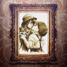 30X39CM zestawy do haftu zestawy do haftu krzyżykowego pierwszy romantyczny pocałunek haft krzyżykowy tanie tanio Obrazy Mesh Fabric cartoon Duszpasterska Dwustronnie haft Zwinięte PAPER BAG