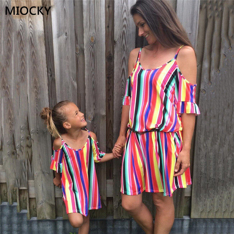 Mother Daughter Dresses Cute Stripe Family Look Clothes Off Shoulder Dress Ladies Kids Girls E098