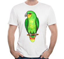 83a2f2ba1 Watercolor Orange Amazon Parrot Print Summer Hipster T-shirt Funny Bird  Design Boy