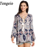 Tengeio Women Lace Up Boho Chiffon Blouse Long Lantern Sleeve Summer Beach Plus Size Printing Floral