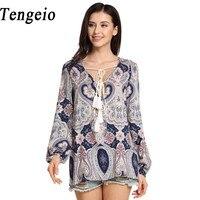 Tengeio Women Lace Up Boho Chiffon Blouse Long Lantern Sleeve Summer Beach Plus Size Printing Floral