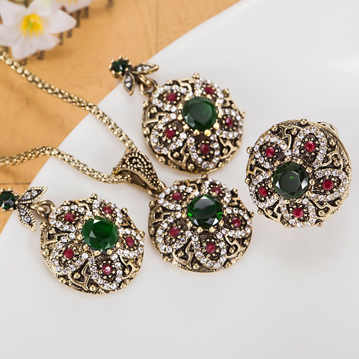 colorful Turkish Jewelry Sets Fashion Women Vintage Necklace Earring Rings Jewellery sets Brand Indian Accessories For