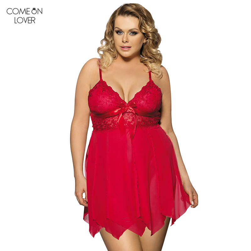 Comelover See Through Lace Chemise de alta calidad de lencería erótica Lencer G String RT8015 mujeres Babydoll Plus Size Lingerie