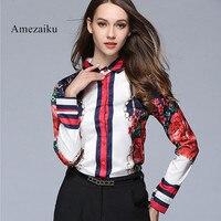 Silk Blouse Women Long Sleeve print Tops Female 2017 Autumn Winter Stain Blouses Sexy Fashion Wear Shirt