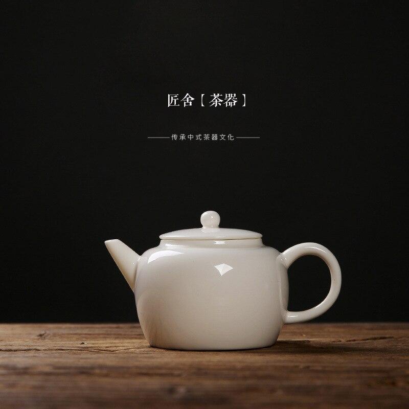 Jade porcelain teapot ceramic kung fu tea with a single teapot Dehua white porcelain large capacity