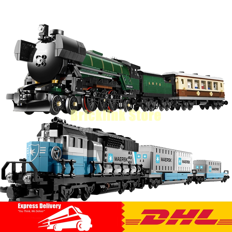 LEPIN Technic Series 21005 Emerald Night+ 21006 Maersk Train Building Blocks Bricks Model Toys For Children Gifts 10194 10219 lepin 21006 compatible builder the maersk train 10219 building blocks policeman toys for children