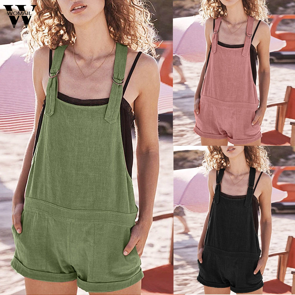 Womail bodysuit Women Summer Casual Solid Adjustable Cotton Pockets Rompers Playsuit Shorts Jumpsuit new 2020 M4