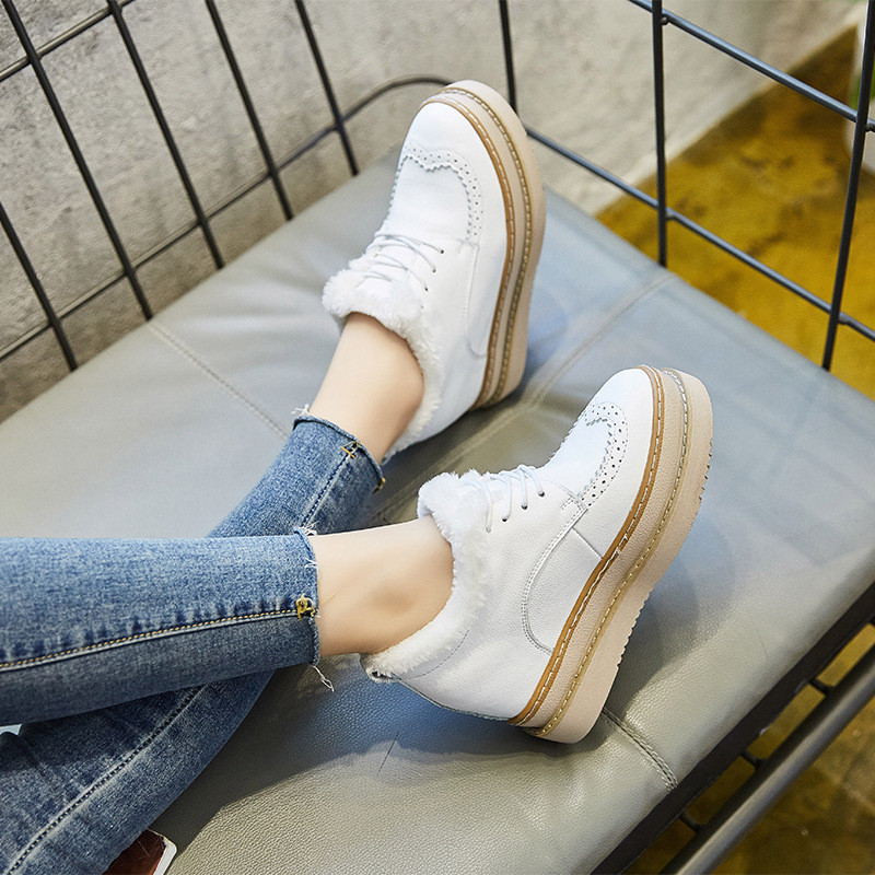 Women s Flat Platform Shoes Genuine Leather Winter Sneakers 2018 Warm Fur Casual Shoe Woman Snow