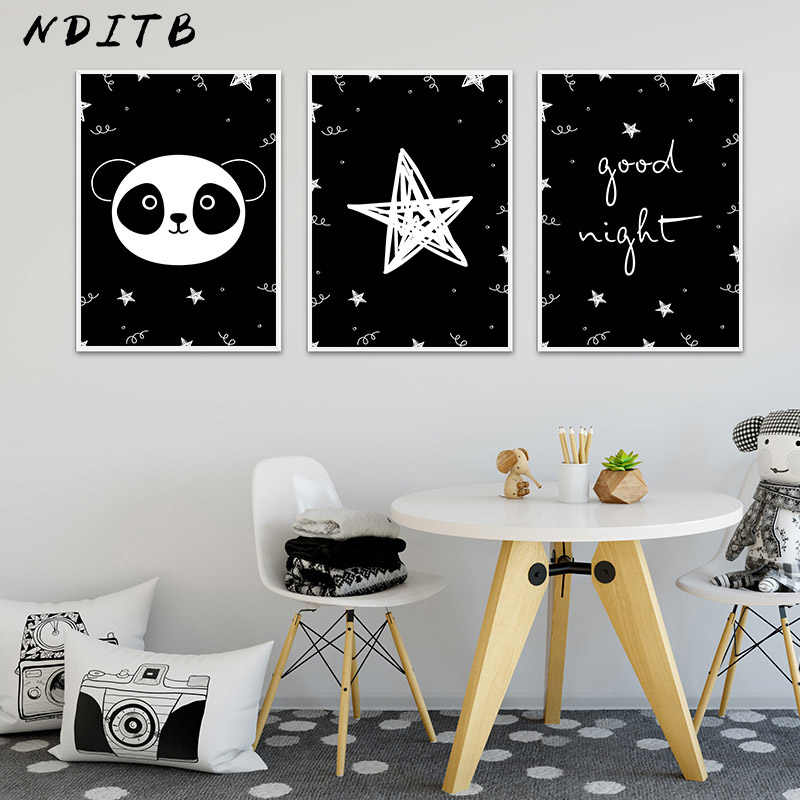 Cartoon Panda Canvas Print Black and White Wall Art Poster Nursery Painting Nordic Kid Decoration Picture Baby Bedroom Decor