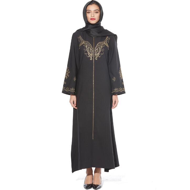 Luxury Muslim Embroidery Abaya Long Maxi Turkish Dresses Robe Kimono Gowns Jubah Dubai Arab Middle East Ramadan Islamic Clothing