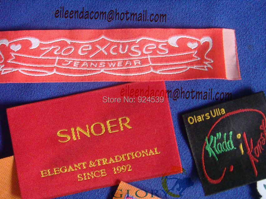 Custom woven labels cut folded woven fabric labels Woven t shirt tags