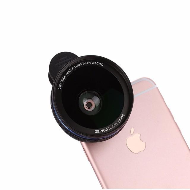 2em1 kit Lentes Da Câmera Do Telefone Móvel 0.6x Grande Lente Macro Lentes HD schott 7 glaswerke para iphone 4 5 5s 6 6 s plus huawei xiaomi