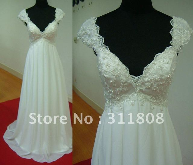 Best Selling Cap Sleeve Pearls Chiffon A Line Low Back Sexy Beach Wedding Dresses Real Sample