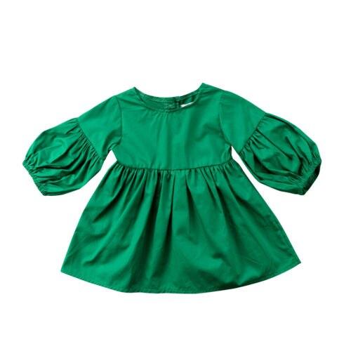 Lovely Kids Baby Girls Clothes Casual Green Dress Party Pageant Long Sleeve Tutu Mini Dresses Girl 1-6T платье для девочек party dresses for girls baby 2 11 casual girl dress