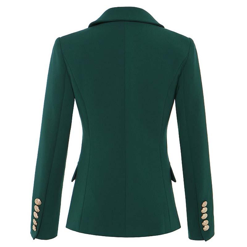 Vestes Boutons Métal Veste S Foncé Boutonnage À Designer En Hiver Double Femmes 2018 Vêtements Lion Vert Piste Green Manteau Automne xxl Taille Iaxw0w6z